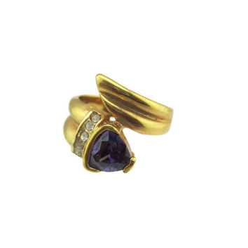 Vintage 14k HGE Gold  Cut Trillion Amethyst  Austrian Crystal Faux Bypass Ring Size 6 Signed GS