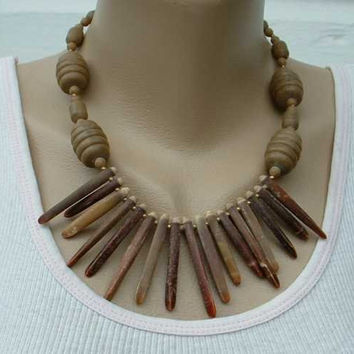 Funky Fringe Necklace Faux Bone Egyptian Revival Maybe Vintage Jewelry