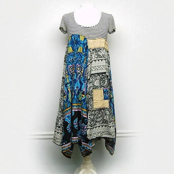 Large Hippie Boho Chic Dress, Funky Hippie Dress, Bohemian Free People Anthropologie Inspired Upcycled Clothing by Primitive Fringe