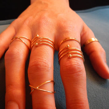 Punk Gold Plated Stackable Ring Finger Rings Ring Set
