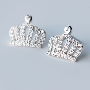 Cute zircon crown 925 sterling silver earrings, a perfect gift