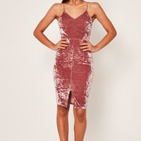 Missguided - Crushed Velvet Strappy Midi Dress Pink