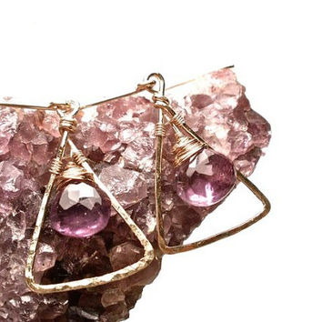 Little Triangle and Amethyst Earrings- Gold and Orchid