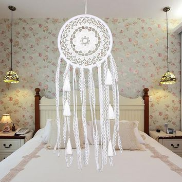 White Lace Flower Dreamcatcher Wind Chimes Indian Style Feather Pendant Dream Catcher Creative Car Hanging Decoration PTSP