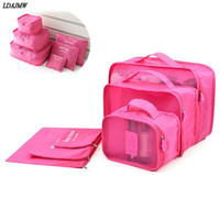 On Sell Hot 6PCS Set Travel Cases Clothes Tidy Storage Bag Box Luggage Suitcase Pouch Zip Bra Cosmetics Underwear Organizer
