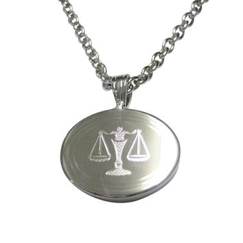 Silver Toned Etched Oval Scale of Justice Law Pendant Necklace