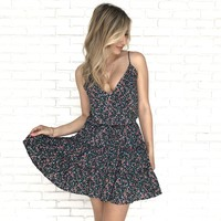 Flutter Along Floral Dress in Navy