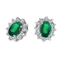 14K White Gold Emerald and Diamond Stud Earrings (1.25ct tw)