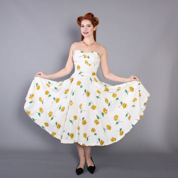 50s Floral Print Strapless Cotton DRESS / 1950s White, Yellow and Green Dress, Boned Bodice & Full Skirt, s