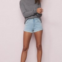Cool Blue Premium Retro High Waist Short