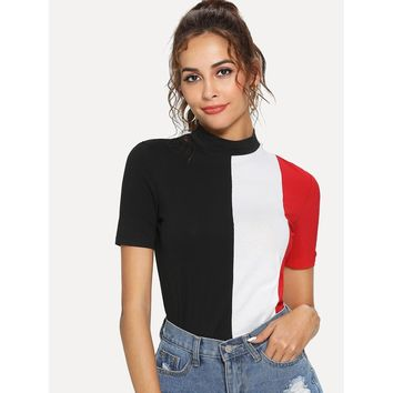 Multicolor Mock Neck Cut And Sew Tee