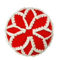Vintage Crochet Round Pillow, Red & White, Knit Flower Circle Cushion, Granny Chic, Decorative Throw, Couch Bed Accent, Retro Home Decor