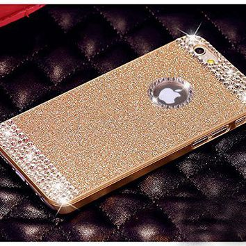 Vproof iPhone 6 Plus Case/iPhone 6s Plus Case , Luxury Hybrid PC Hard Shiny Bling Glitter Sparkle With Crystal Rhinestone [Artificial Diamond] Cover Case For iPhone 6/6s Plus [5.5 Inch] (Pink+Crystal Rhinestone)