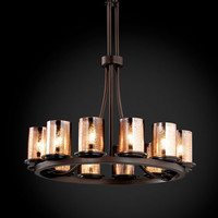 Justice Design Group FSN876310MRORMB Fusion Dakota 12-Light Matte Black Tall Ring Chandelier - (In Matte Black)