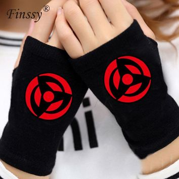 Naruto Sasauke ninja  Gloves for Men Women Sharingan Uchiha Akatsuki Logo Gloves Mitten Lovers Anime Accessories Cosplay Fingerless AT_81_8