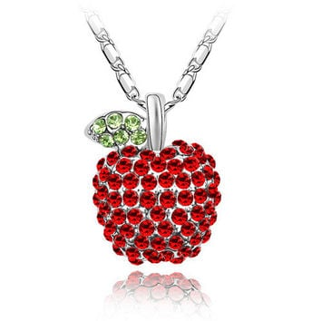 Snow White Fairy Tale Red Apple Evil Queen Pendant crystal necklace Austria Crystal, Unique Gift For Teacher