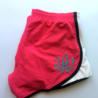 Monogram Running Shorts Athletic Shorts MORTS Women Girls Monogrammed Shorts Embroidered Athletic Gym Cheer