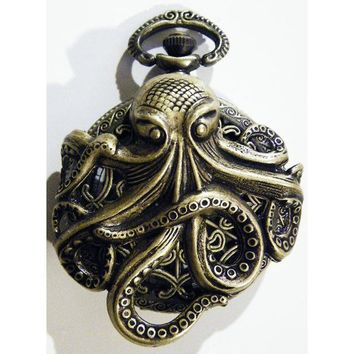 Steampunk Antique Victorian Style Brass Octopus by tempusfugit