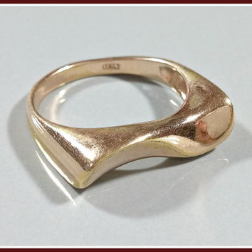 Vintage Gold over Silver Ring Modernist Style Gold Vermeil Marked 925 Italy Italian Silver Wavy Curved Strait Top Unique Band Womens Ring