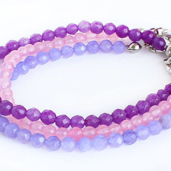 Purple pink lavender gemstones bracelet set of 3 bracelet hippie boho birthday gift best friend gift for her