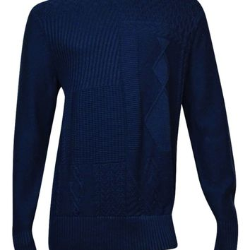 Tommy Hilfiger Men's Cornelius Cable-Knit Sweater (Navy Blazer, XL)