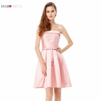 Cocktail Dresses Ever Pretty 2017 New Girl's Double Strapless Pink & Grey Satin Summer Dress Cocktail Dresses