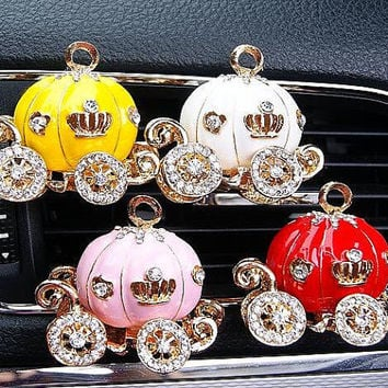 3D Alloy Crystal Pumpkin Car Handmade Car vent clip, car air freshener, car interior, car accessory, car Decorations
