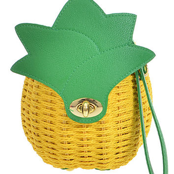 This fun wristlet or crossbody strap bag features woven textured natural material rope with green vegan leather contrast as leafs, eye-catching small size pineapple design, top strap with twist closure, and removable straps, fully pineapple pattern fabrica