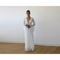 Full Lace Bell Sleeves Wedding maxi dress in Ivory 1167