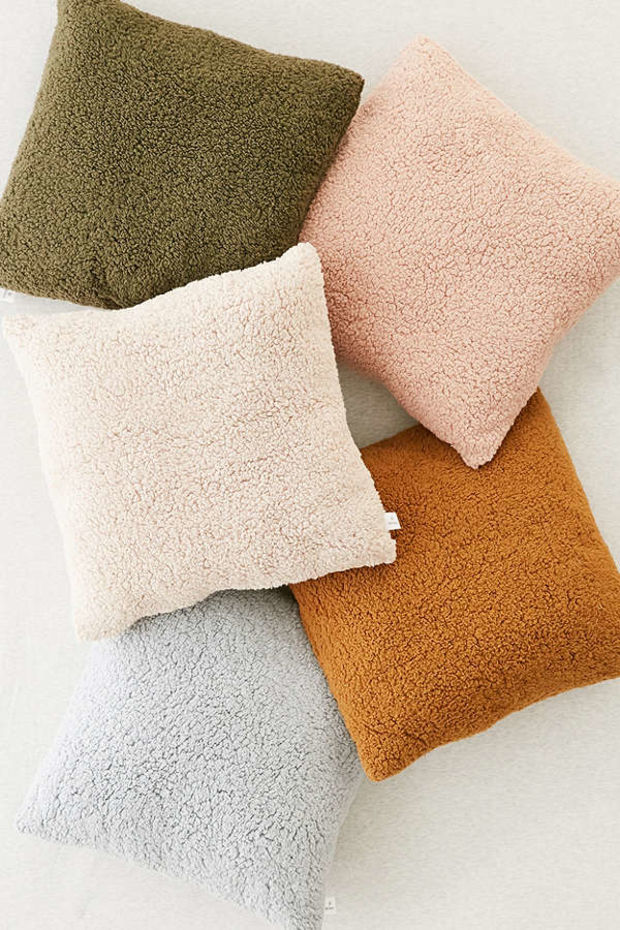Sherpa Fleece Throw Pillow Urban Outfitters