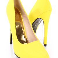 Yellow Pointed Toe Single Sole Pump Heels Nubuck