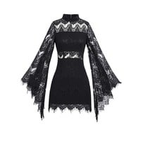 Gothic Black Lace Flare Sleeves Sexy Mini Dress