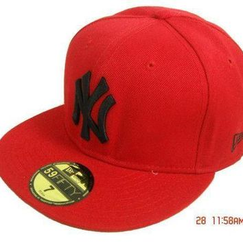 New York Yankees New Era Mlb Authentic Collection 59fifty Hat Red Black