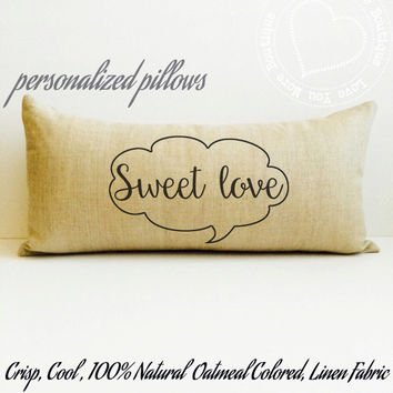 Linen pillow, personalized pillow, sweet love conversaton bubble lumbar pillow, personalized cotton and linen home decorative pillows, gifts
