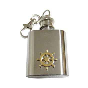 Gold Toned Nautical Steering Helm 1 Oz. Stainless Steel Key Chain Flask
