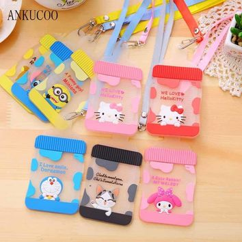 New Kawaii Silicone Cute Milk Bottle Shape Hello Kitty Stitch Chi's Neck Hanging BUS & ID Card Holder Case Pouch Bag Holders