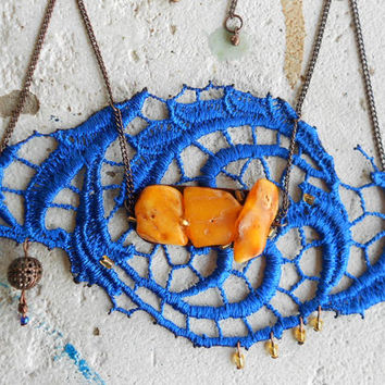 Bib Necklace with Lace + Amber + Copper + Glass! ~ Majesty Bloom ~ Incredibly lightweight Lace Necklace in electric-Blue and amber-Yellow !