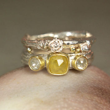 Cushion Cut Yellow Diamond Wedding Set, Three Stone Diamond 18K Gold Ring Engagement Ring, Sterling Silver Twig Ring