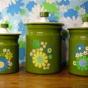Retro Kitchen Canisters in Green Flower Power Design, set of 3. Tin with fancy lids.