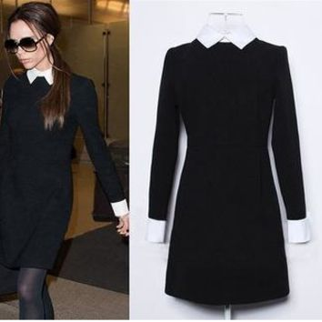 2017 Fashion Star Style Victoria Beckham Dress Slim Elegant Turn-down Collar Long Sleeve Black Dresses for Women