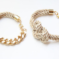 Beige and Gold chunky chain and Knot Silk Bracelet set by Brinkle