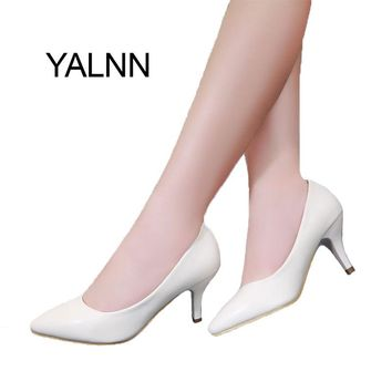 YALNN High Heel Women Shoes New Fashion women leather 7cm heel Black&White shoes for Office Lady