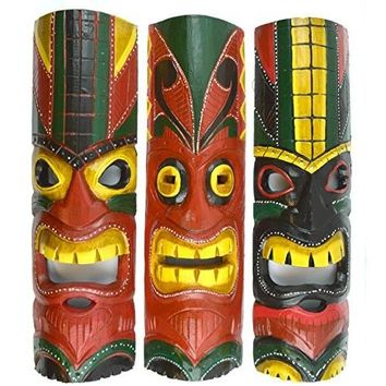 20 IN HAND CARVED BEAUTIFUL SET OF 3 POLYNESIAN TIKI GOD MASKS