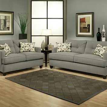 2 pc aukland gray fabric upholstered sofa and love seat set with square set back arms
