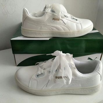 """Puma"" Women Casual Simple Fashion Ribbon Plate Shoes Small White Shoes Sneakers"
