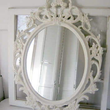 Shabby Chic Baroque Oval Mirror - Antique White - Ornate Mirror - Home Decor - Wedding - Baroque Mirror - Shabby Mirror - Nursery