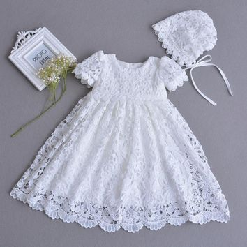 2017 Newborn Baby Girls Princess Dress Kids White Infant Baby Girl Birthday Costumes Cute Lace Wedding Clothes