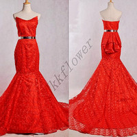 Vintaage 1980s Red Mermaid Lace Prom Dresses,Red Lace Long Train Mermaid Evening Dresses,Bridal Lace Wedding Dresses,Custom Made Dresses