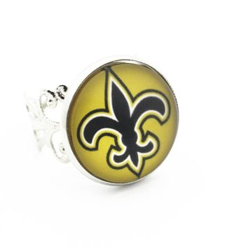 Newest 1pcs/lot Metal Fashion Rings Glass Printing New Orleans Saints Football Team Silver Opening Adjustable Ring Jewelry