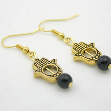 Hand of Fatima, Hamsa Hand, Gold Toned Earrings with Black Bead, Dangling, #Bohemian, #Gift
